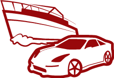 simple red car and boat
